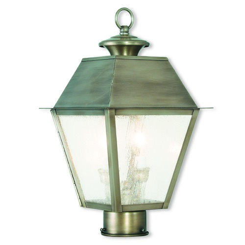 Livex Lighting Seeded Glass Post Light Pewter Livex Lighting 2166-29