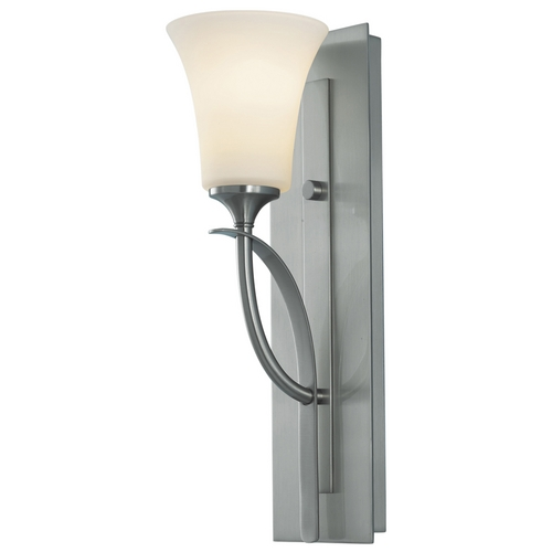 Sea Gull Lighting Modern Sconce Wall Light with White Glass in Brushed Steel Finish VS12701-BS