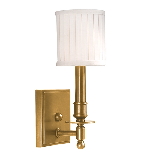 Hudson Valley Lighting Sconce Wall Light with White Shade in Aged Brass Finish 301-AGB