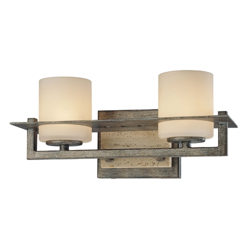 Minka Lavery Bathroom Light with White Glass in Aged Patina Iron Finish 6462-273