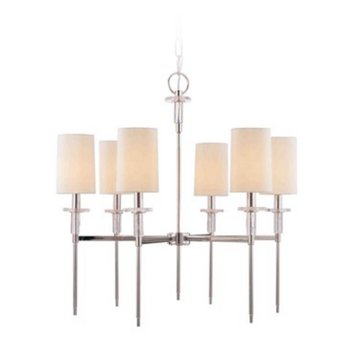 Hudson Valley Lighting Modern Chandelier with White Shades in Polished Nickel Finish 8516-PN