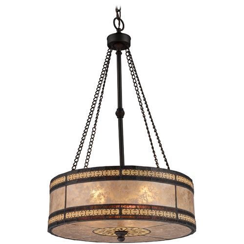 Elk Lighting Drum Pendant Light with Beige Mica Shade in Tiffany Bronze Finish 70067-3