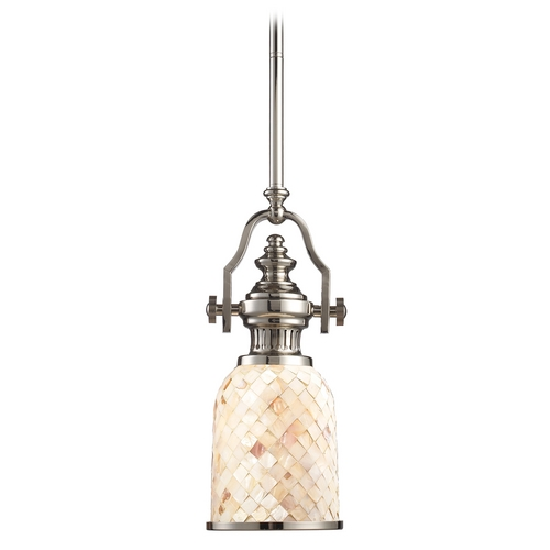 Elk Lighting Mini-Pendant Light with Beige / Cream Glass 66412-1