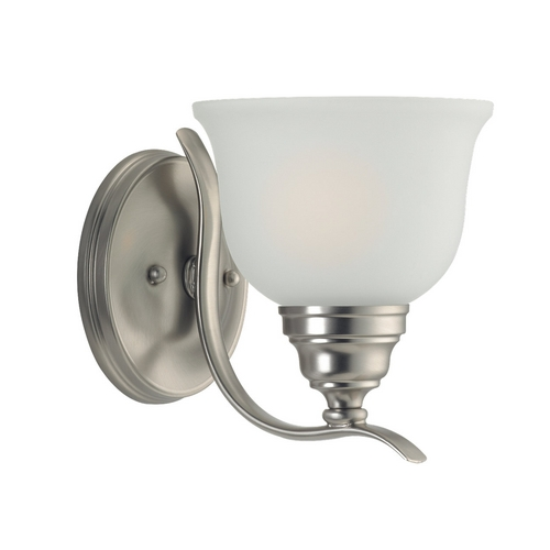 Sea Gull Lighting Sconce Wall Light with White Glass in Brushed Nickel Finish 44625-962