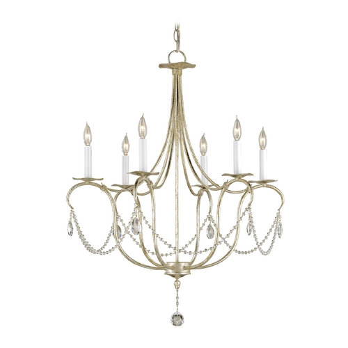 Currey and Company Lighting Crystal Chandelier in Silver Leaf Finish 9890