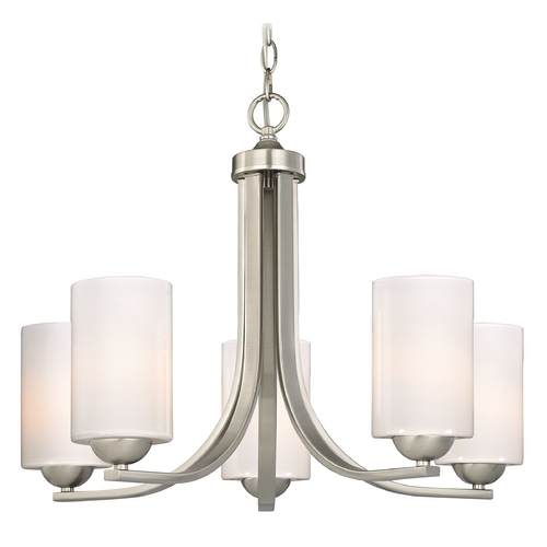 Design Classics Lighting Contemporary Chandelier with Opal White Cylinder Glass Shades 584-09 GL1024C