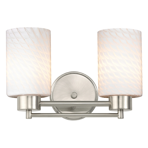 Design Classics Lighting Modern Bathroom Light with White Glass in Satin Nickel Finish 702-09 GL1020C