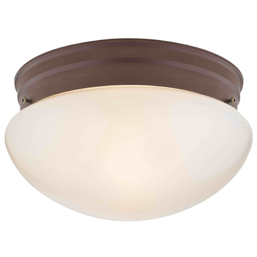 Design Classics Lighting 8-Inch Bronze Flushmount Ceiling Light With Opal Glass 29634