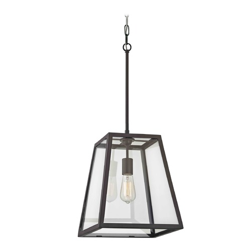 Country Bronze Mini Pendant Light With Square Shade
