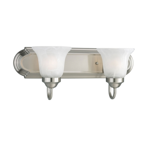 Progress Lighting Progress Bathroom Light with Alabaster Glass in Brushed Nickel Finish P3052-09