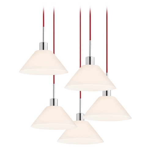 Sonneman Lighting Modern Multi-Light Pendant Light with White Glass and 5-Lights 3563.01R-5