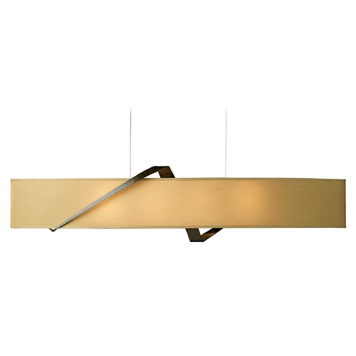 Hubbardton Forge Lighting Hubbardton Forge Lighting Stream Bronze Island Light with Oval Shade 137680-05-644