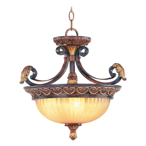 Livex Lighting Livex Lighting Villa Verona Bronze with Aged Gold Leaf Accents Pendant Light with Bowl / Dome Shade 8565-63