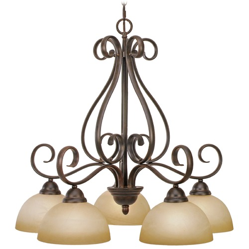 Golden Lighting Golden Lighting Riverton Peppercorn Chandelier 1567-D5 PC