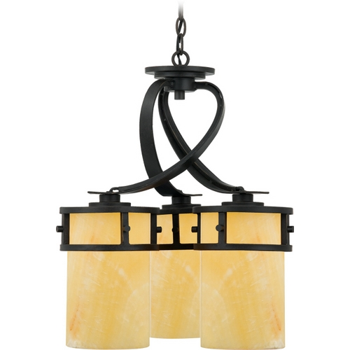 Quoizel Lighting Bronze Dinette Pendant Light with Onyx Cylinder Shades KY5103IB
