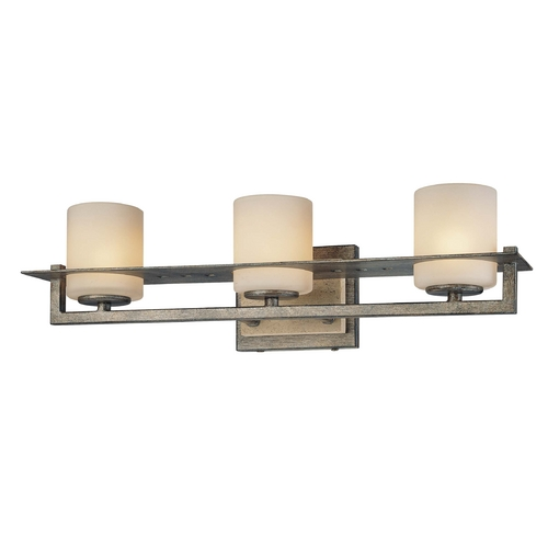 Minka Lavery Bathroom Light with White Glass in Aged Patina Iron Finish 6463-273