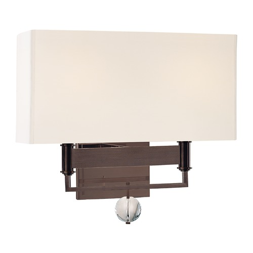 Hudson Valley Lighting Modern Sconce Wall Light with White Shades in Old Bronze Finish 5642-OB