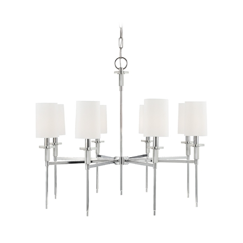 Hudson Valley Lighting Modern Chandelier with White Shades in Polished Nickel Finish 8518-PN
