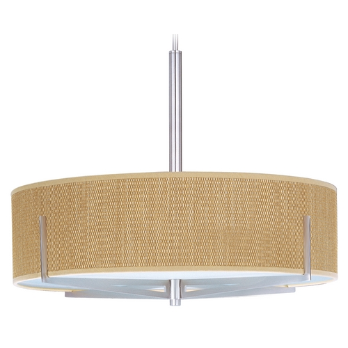 ET2 Lighting Modern Pendant Light with Brown Shades in Satin Nickel Finish E95308-101SN