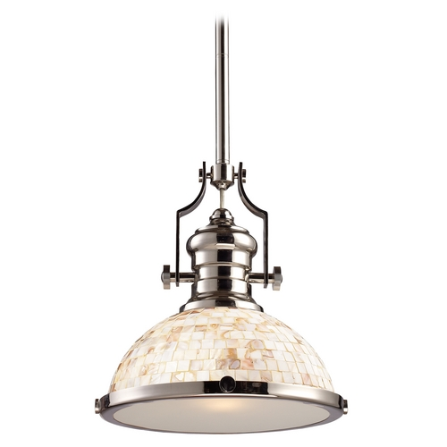 Elk Lighting Pendant Light with Beige / Cream Glass in Polished Nickel Finish 66413-1