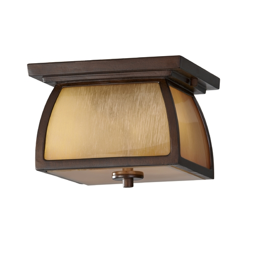 Feiss Lighting Close To Ceiling Light with Beige / Cream Glass in Sorrel Brown Finish OL8513SBR