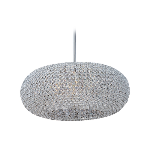 Maxim Lighting Maxim Lighting Glimmer Plated Silver Pendant Light with Oblong Shade 39879BCPS