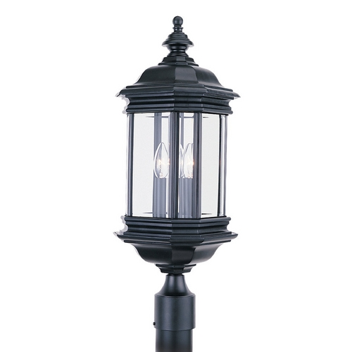 Sea Gull Lighting Post Light with Clear Glass in Black Finish 8238-12
