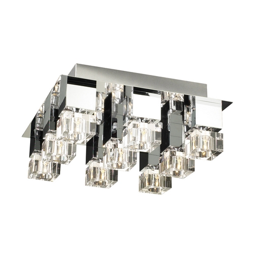 PLC Lighting Modern Flushmount Light with Clear Glass in Polished Chrome Finish 81238 PC