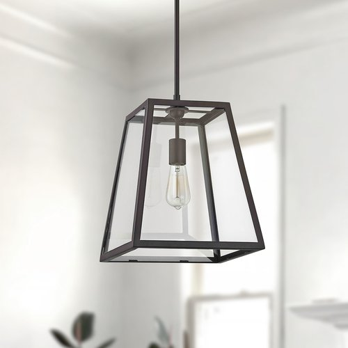 Design Classics Lighting Country Bronze Mini-Pendant Light with Square Shade 1168-1-25