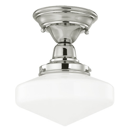 Design Classics Lighting 8-Inch Schoolhouse Ceiling Light in Polished Nickel FBS-15 / GE8