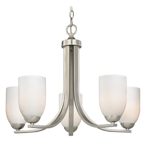 Design Classics Lighting Modern 5-Light Chandelier with Opal White Cylinder Glass in Satin Nickel 584-09 GL1024D