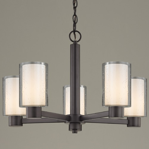 Design Classics Lighting Seeded Frosted Glass Chandelier Bronze 5-Lt 2105-220 GL1061 GL1041C