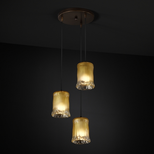 Justice Design Group Justice Design Group Veneto Luce Collection Dark Bronze Multi-Light Pendant with Cylindrical Shade GLA-8818-16-GLDC-DBRZ