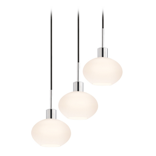 Sonneman Lighting Modern Multi-Light Pendant Light with White Glass and 3-Lights 3565.01K-3