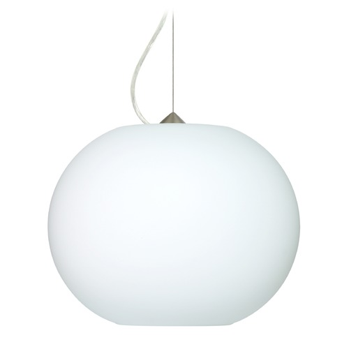 Besa Lighting Besa Lighting Jordo Satin Nickel LED Pendant Light with Globe Shade 1KX-477507-LED-SN