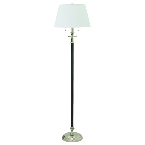 House of Troy Lighting House Of Troy Bennington Black with Polished Nickel Floor Lamp with Empire Shade B500-BPN