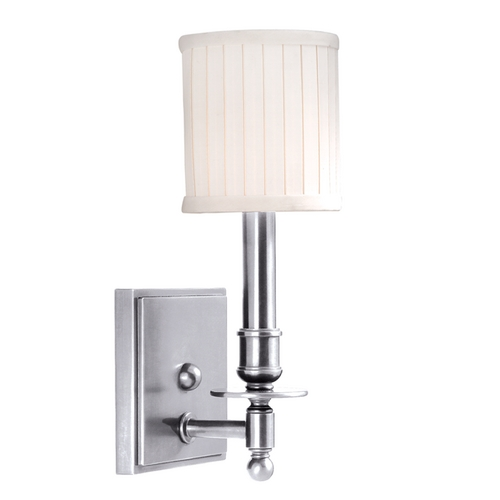 Hudson Valley Lighting Sconce Wall Light with White Shade in Polished Nickel Finish 301-PN