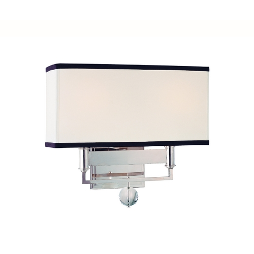 Hudson Valley Lighting Modern Sconce Wall Light with White Shades in Polished Nickel Finish 5642-PN