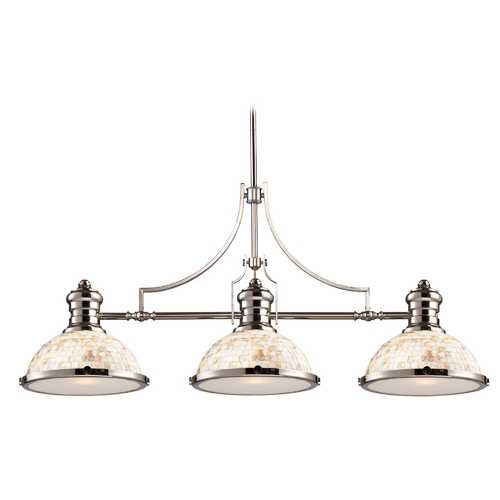 Elk Lighting Island Light with Beige / Cream Glass in Polished Nickel Finish 66415-3