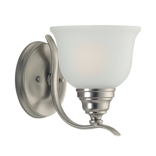 Sea Gull Lighting Sconce with White Glass in Brushed Nickel Finish 44625BLE-962