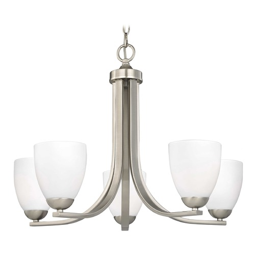 Design Classics Lighting Modern 5-Light Chandelier with Opal White Bell Glass in Satin Nickel 584-09 GL1024MB