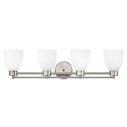 Design Classics Lighting Modern Bathroom Light with White Glass in Satin Nickel Finish 704-09 GL1028MB