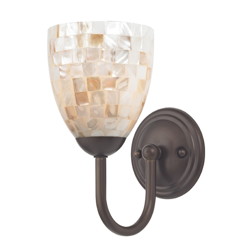 Design Classics Lighting Sconce with Mosaic Glass in Bronze Finish 593-220 GL1026MB