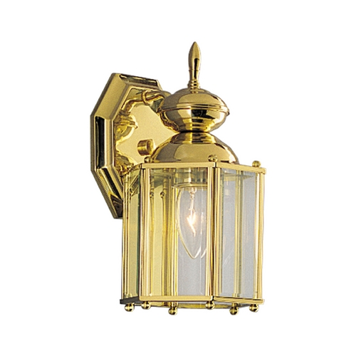 Progress Lighting Progress Outdoor Wall Light with Clear Glass in Polished Brass Finish P5756-10