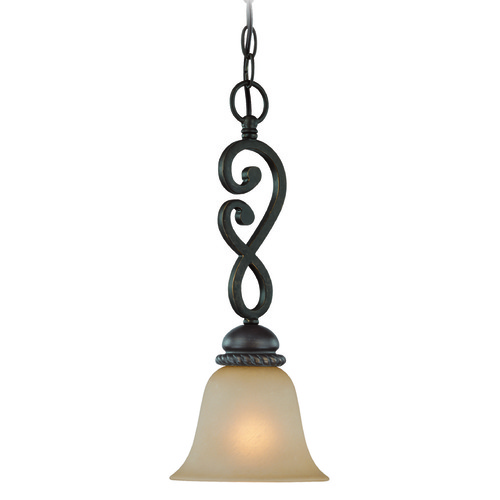 Jeremiah Lighting Jeremiah Highland Place Mocha Bronze Mini-Pendant Light with Bell Shade 25221-MB