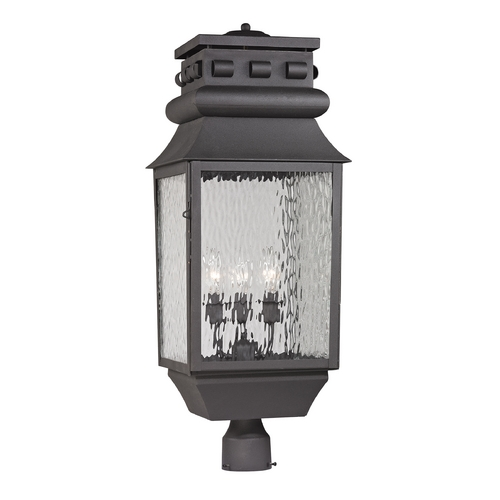 Elk Lighting Post Light with Clear Glass in Charcoal Finish 47062/3