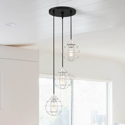 Quoizel Lighting Quoizel Lighting Navigator Earth Black Multi-Light Pendant with Globe Shade NVG2703EK