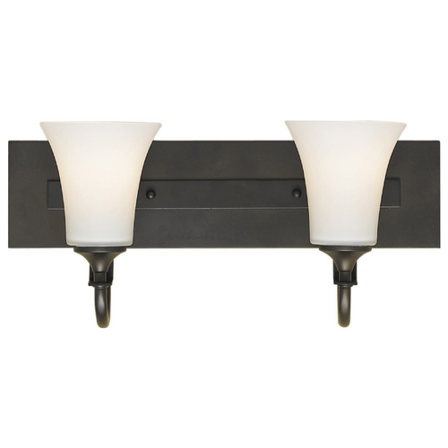 Sea Gull Lighting Modern Bathroom Light with White Glass in Oil Rubbed Bronze Finish VS12702-ORB