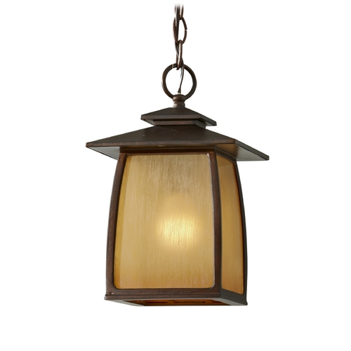 Home Solutions by Feiss Lighting Outdoor Hanging Light with Beige / Cream Glass in Sorrel Brown Finish OL8511SBR