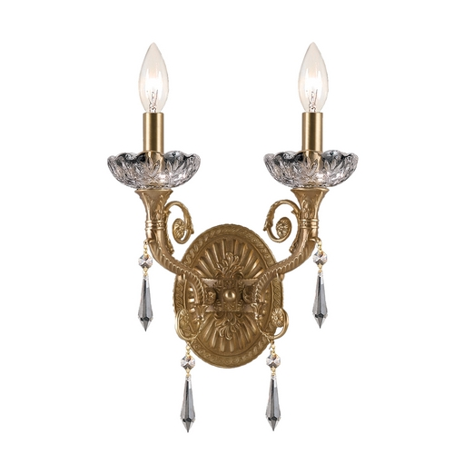 Crystorama Lighting Crystal Sconce Wall Light in Aged Brass Finish 5152-AG-CL-MWP
